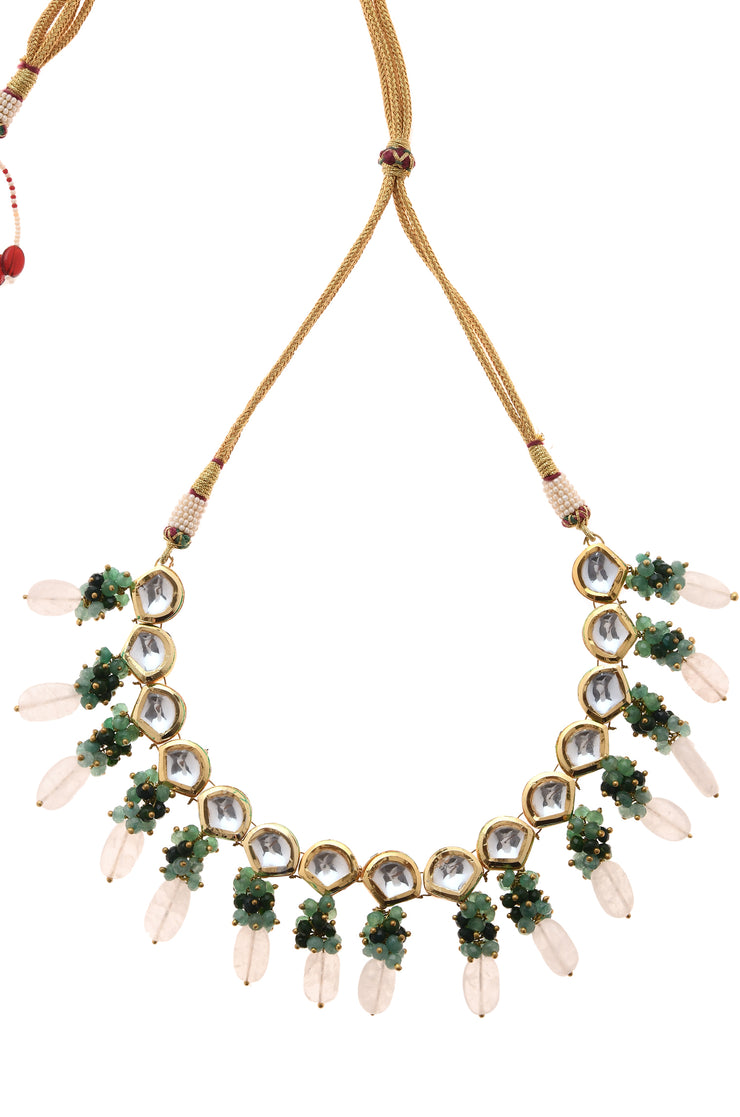 Prarthna Pink-Green Gold Tone Kundan Inspired Choker Necklace