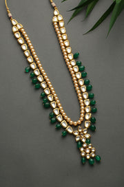 Shalini Green Gold Tone Kundan Inspired Jade Necklace