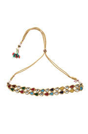Urmi Multicoloured Navrattan Kundan Inspired Choker Necklace