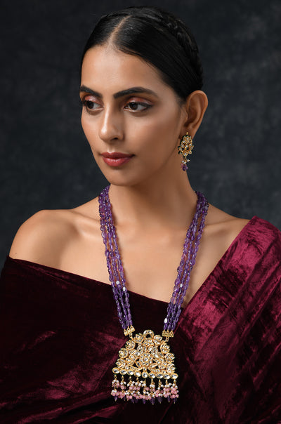 Shyra Purple Gold Tone Jade and Kundan Inspired Pendant Necklace