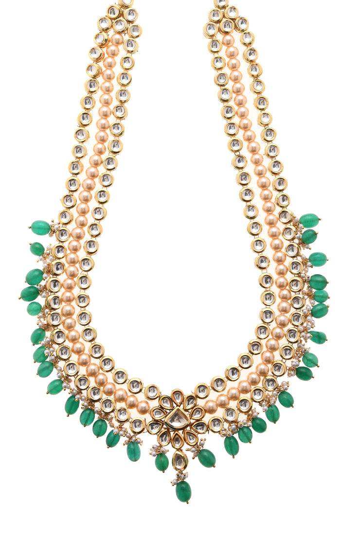 Rahila Green Gold Tone Kundan Necklace With Pearls