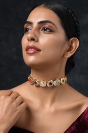 Urmi Navrattan Gold Tone Kundan Inspired Choker Necklace