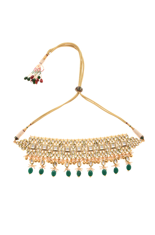 Raima Green Gold Plated Kundan Necklace