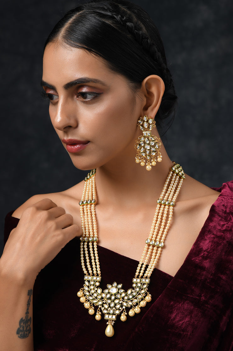 Rivah Gold Plated Kundan Inspired Necklace With Earrings