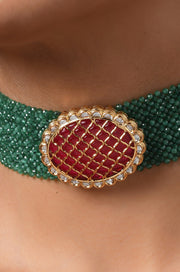 Adriti Green-Red Gold Tone Kundan Inspired Stones Choker Necklace