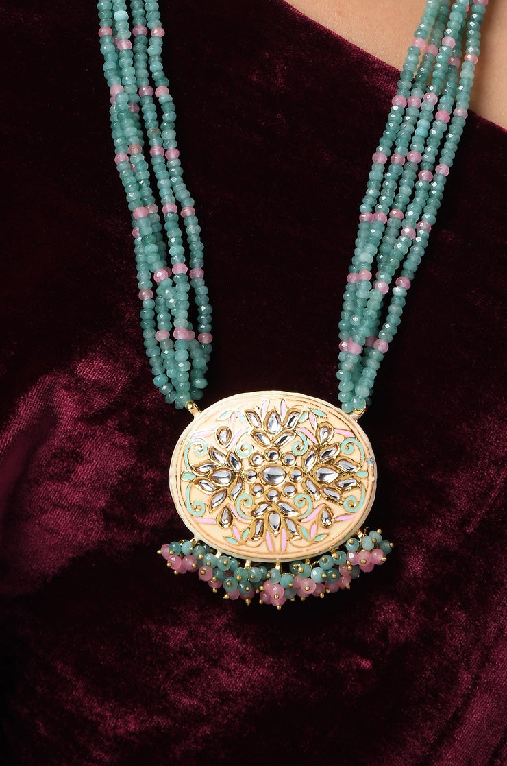 Ira Blue Pink Gold Tone Kundan and Meenakari Necklace with Earrings