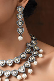Ryka Silver Victorian Pearl Necklace With Earrings