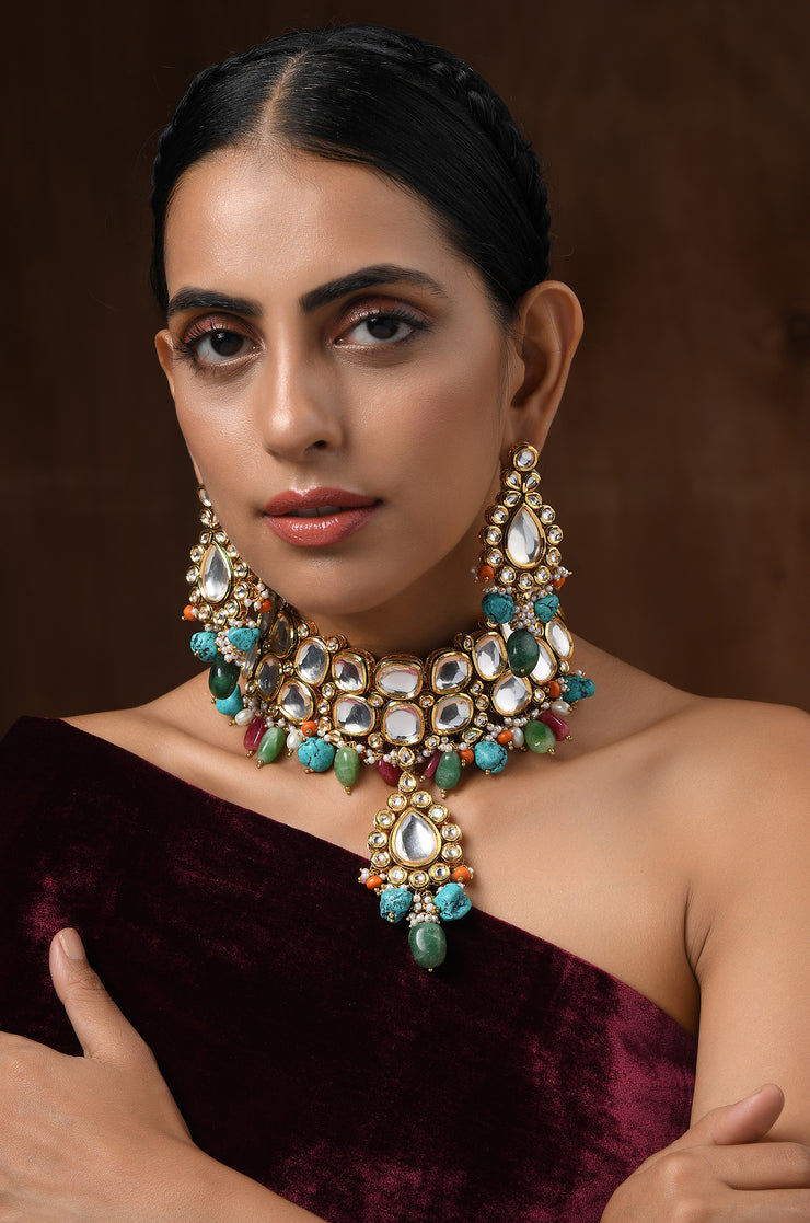 Aradhna Multicoloured Gold Plated Faux Polki Necklace With Earrings