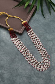 Janvi Pink-Red Beaded Necklace