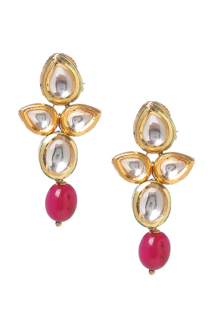 Ojas Pink Gold Plated Kundan Necklace with Earrings