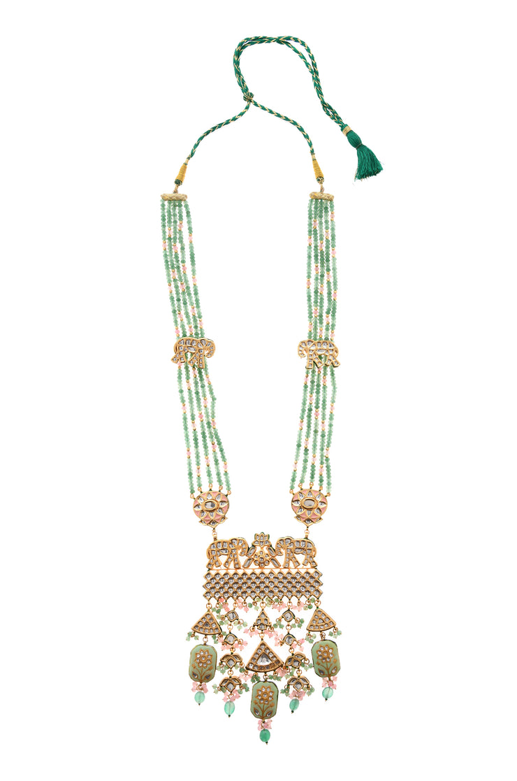 Aarzoo Green-Pink Gold Tone Kundan Necklace