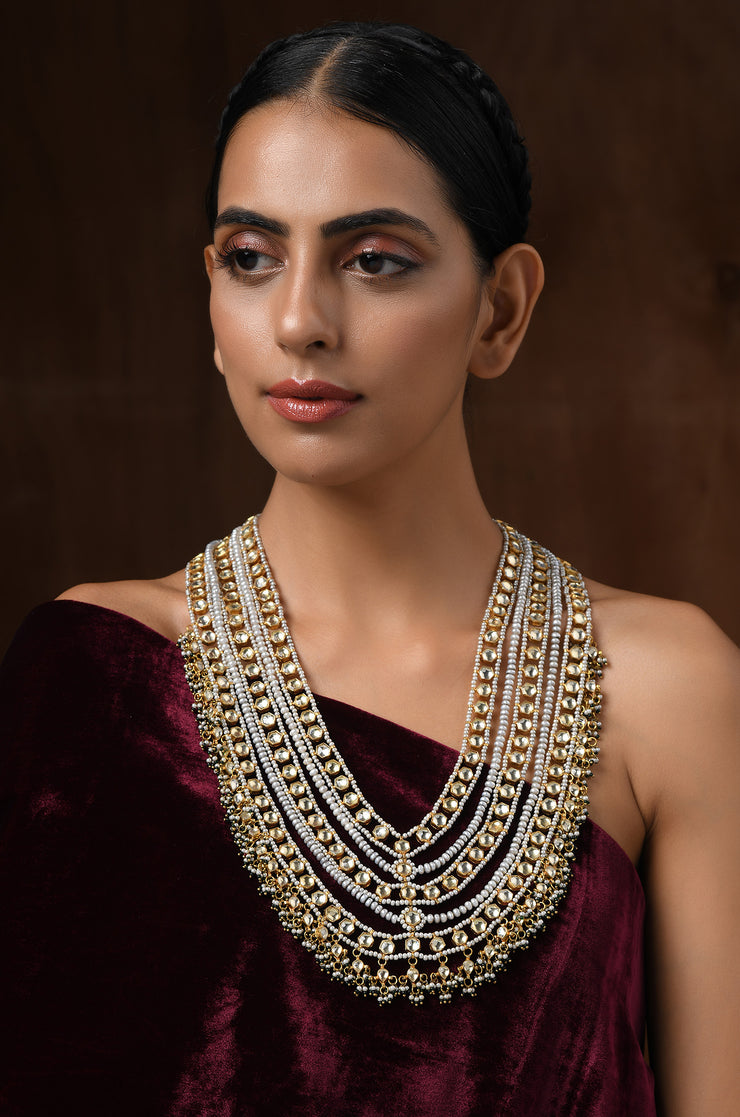 Riva Gold Plated Kundan and Fresh Water Pearls Necklace