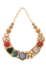 Vaani Multicolored Stones Necklace with Earrings