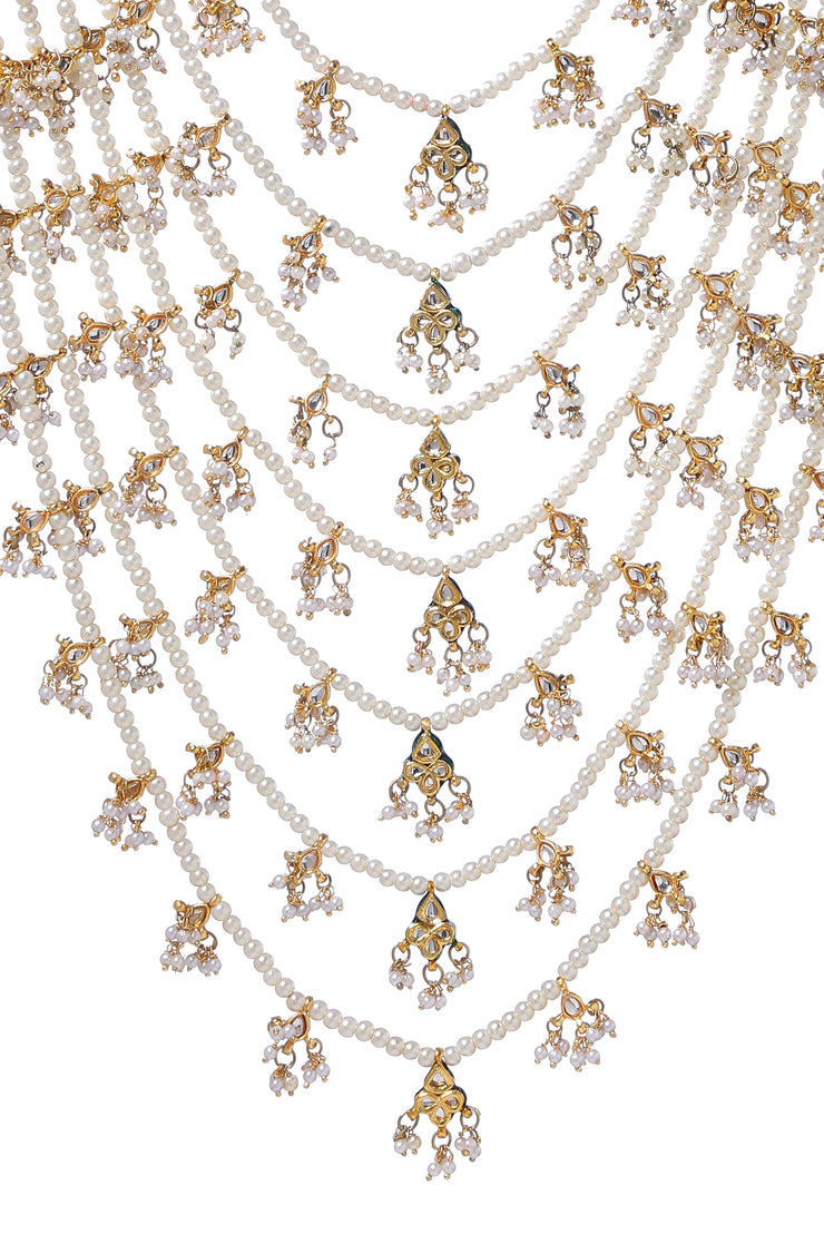 Aayat White Gold Tone Kundan Pearls Necklace