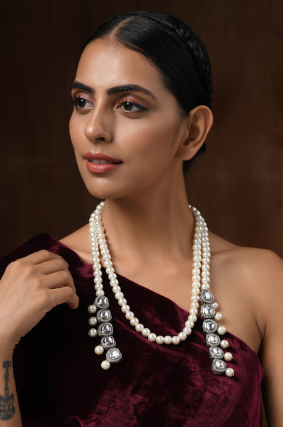 Ria Silver Faux Polki With Shell Pearls Necklace Set