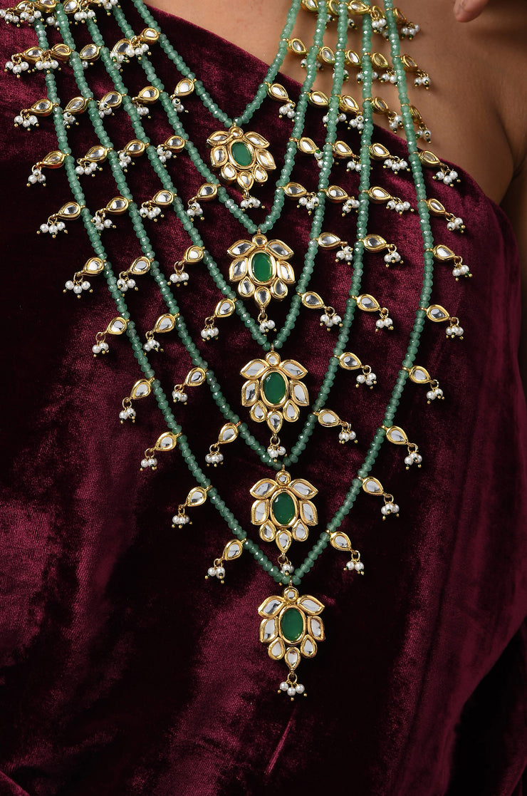 Udhisha Green Gold Tone Kundan Pearls Necklace