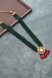 Vahini Green-Pink Gold Tone Kundan Necklace