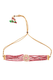 Rashi Red Gold Tone Kundan Inspired Stones Choker Necklace