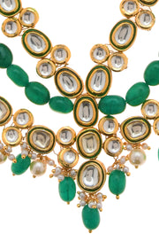 Mridhima Green Gold Plated Kundan Necklace With Pearls