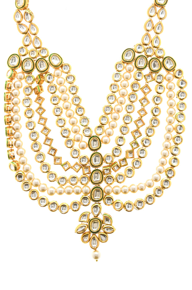 Deepa Classic Gold Tone Kundan Inspired Necklace With Pearl