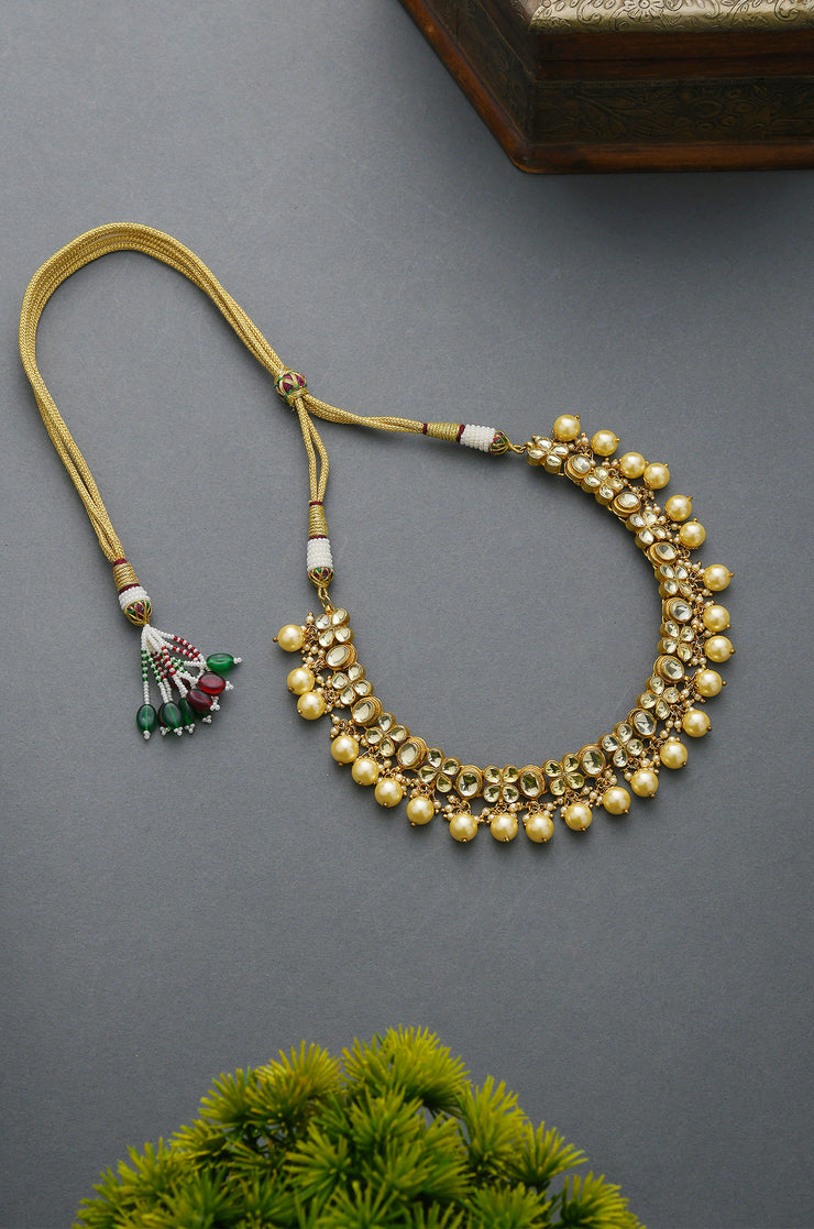Jyotika White Gold Tone Kundan Inspired Pearl Necklace