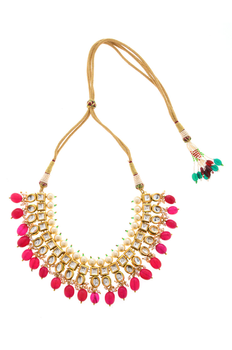 Mohini Pink Gold Plated Kundan Choker Necklace