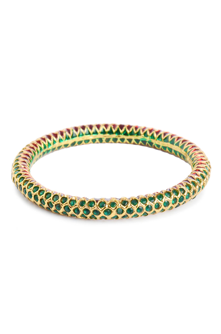 Tanika Gold Tone Green Jadau Bangle - Set Of 2