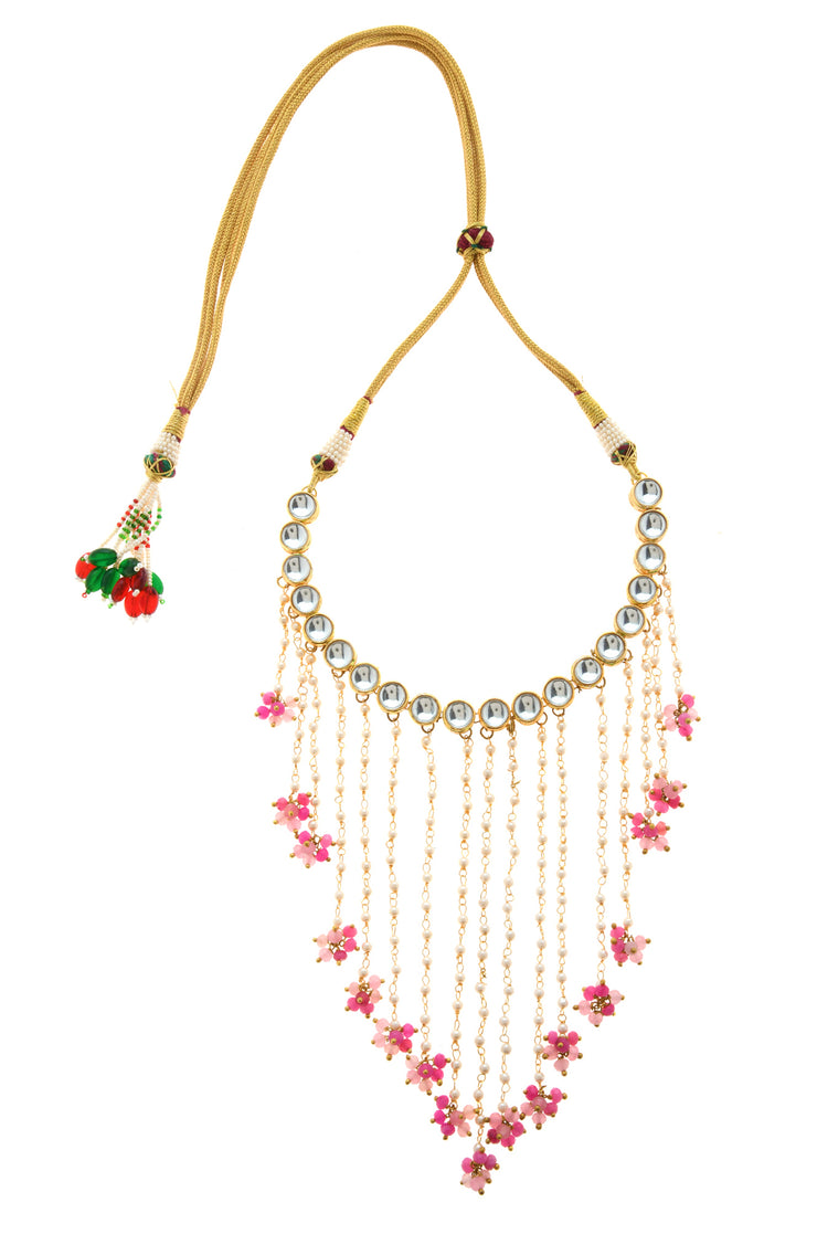 Meena Pink Gold Tone Kundan Necklace With Pearls