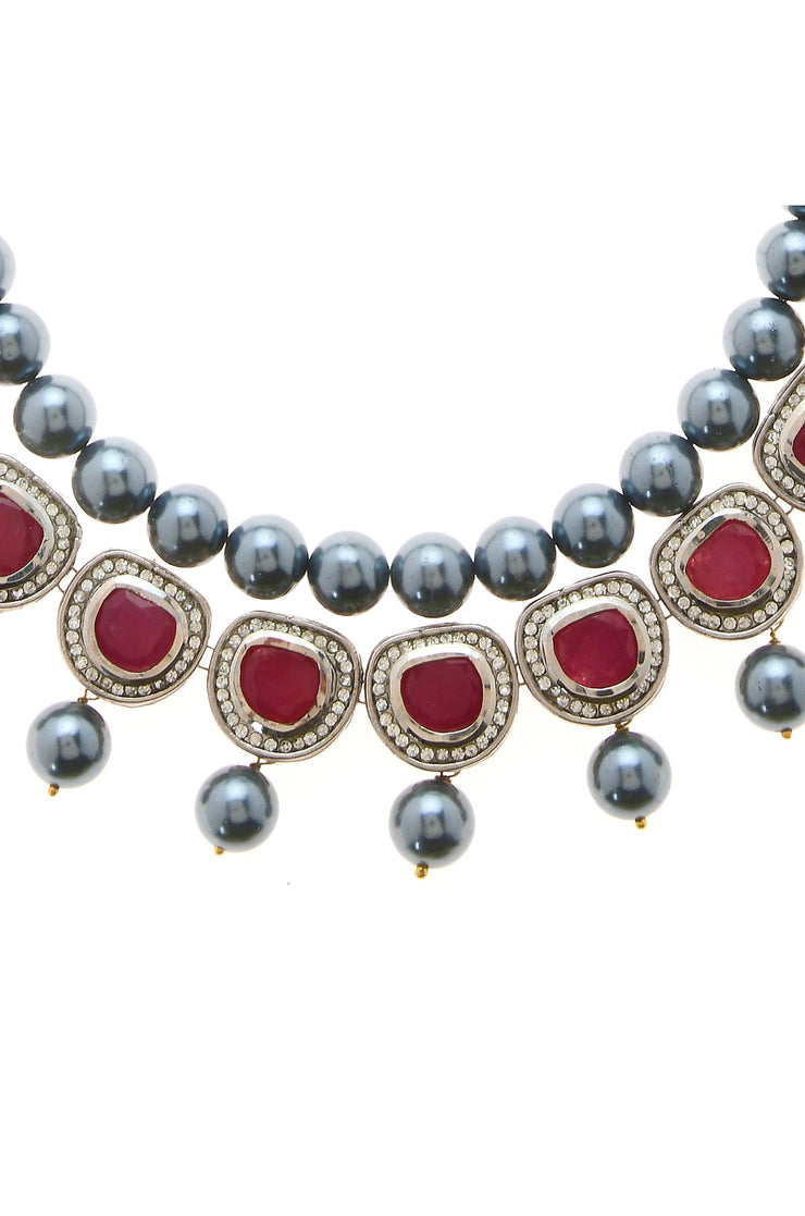 Ria Red Silver Faux Polki With Shell Pearls Necklace Set