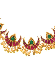 Amolika Red Green Gold Tone Polki Necklace With Earrings