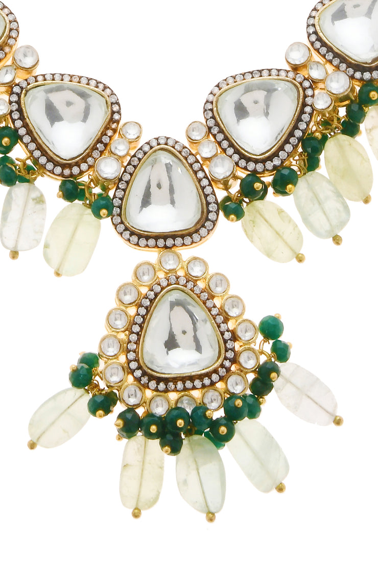 Ameena Green Victorian Stone Polki Necklace With Earrings