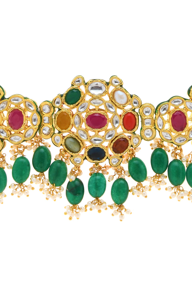 Hiza Navrattan Kundan Inspired Necklace Set