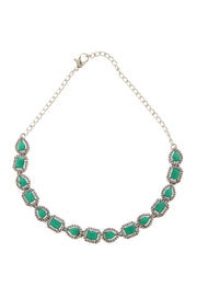 Alvina Green Silver Victorian Necklace Set