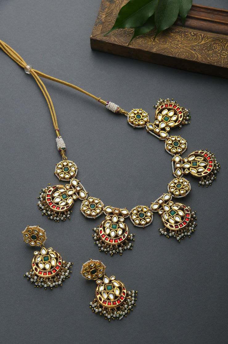 Maysa Green- Red Kundan Inspired Pearl Necklace Set