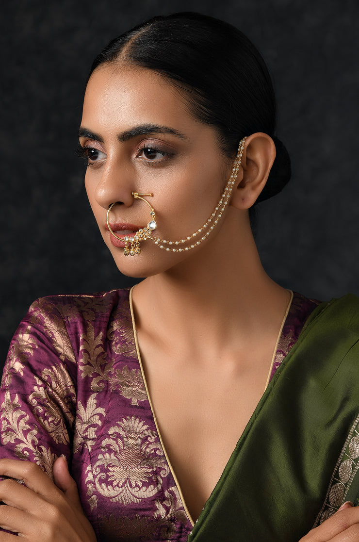 Menila Kundan and Pearls Nosepin