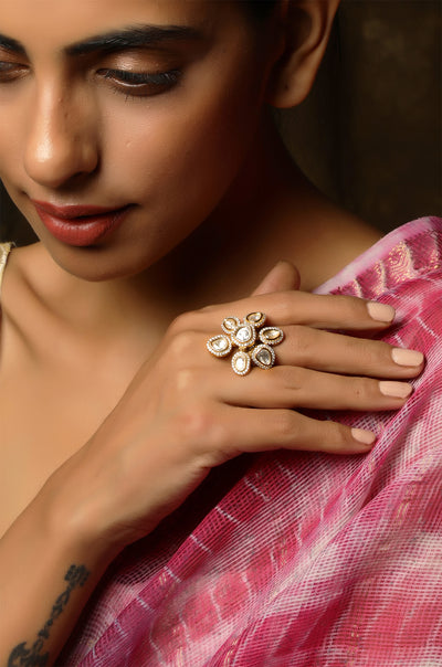 Avni Faux Diamond Polki Ring