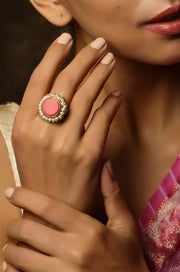 Kaivalya Red Marble and Pearl Cluster Ring