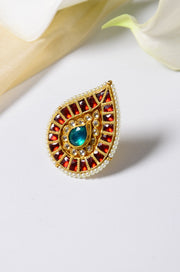 Surbhika Red Polki and Pearls Ring