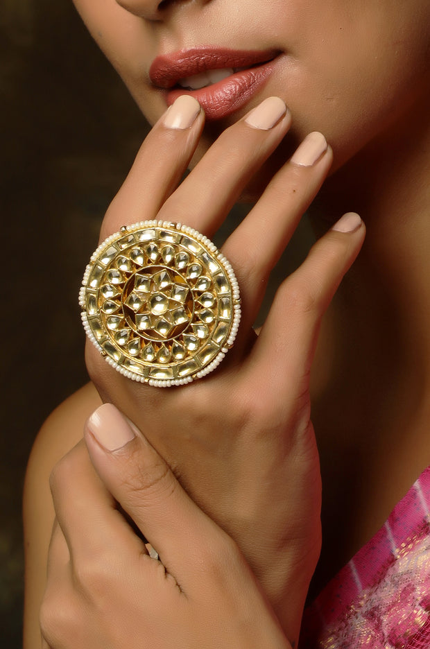 Aahana Polki and Pearls Ring