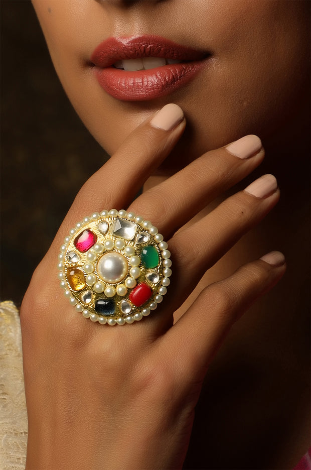 Urmi Multicoloured Polki and Pearls Ring