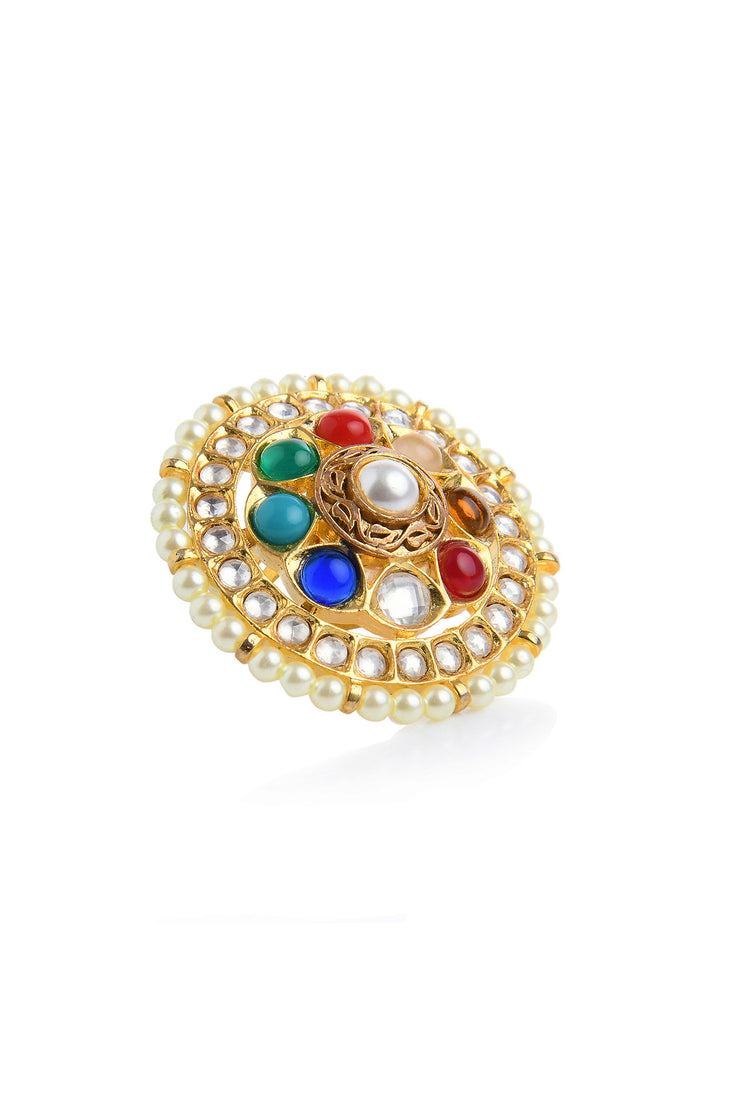 Naina Multicoloured Polki and Pearls Ring