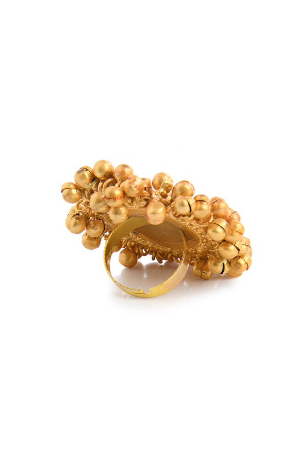 Bharti Gold Ghungroos Contemporary Temple Work Ring