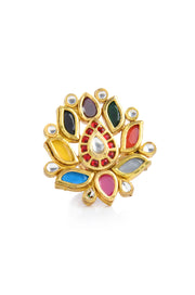 Tassavi Multicoloured Polki and Pearls Ring