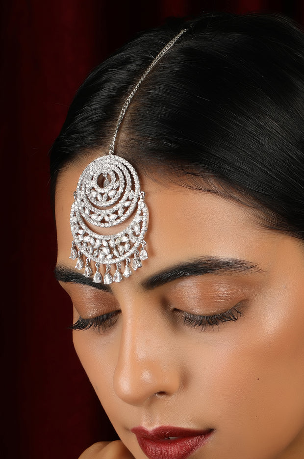 Ehmak Silver Plated Faux Diamond Mang Tikka
