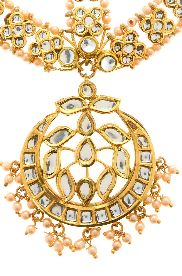 Ariana Kundan Gold Tone With Shell Pearls Maatha Patti