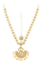 Riana Kundan Gold Tone With Shell Pearls Maatha Patti