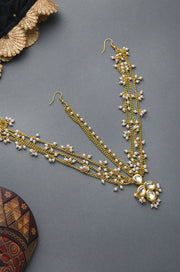Reeth Kundan Gold Tone With Shell Pearls Multilayered Maatha Patti