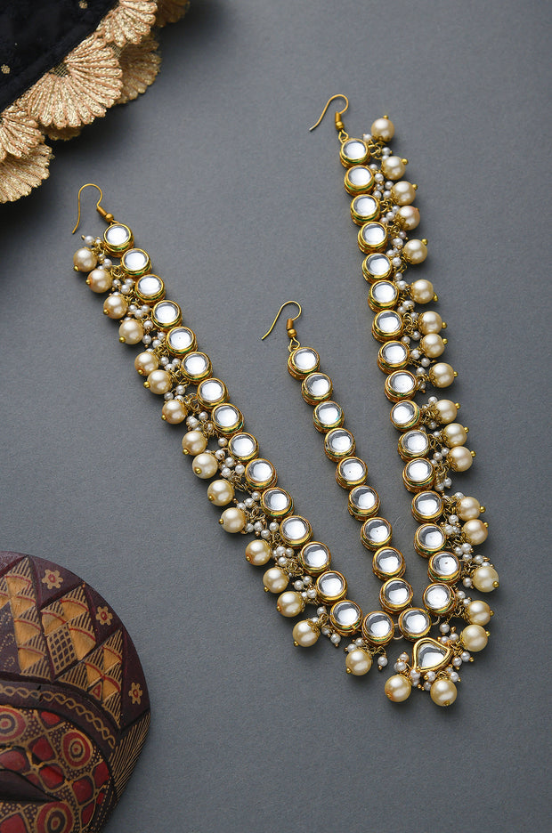 Molly Kundan Gold Tone With Shell Pearls Maatha Patti