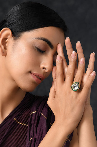 Aadhishree Gold Plated Polki Ring