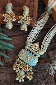 Hemanghi Turquoise Gold Plated Meenakari and Pearl Necklace Set